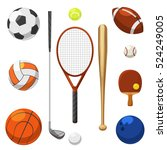 vector sport equipment icons.... | Shutterstock .eps vector #524249005