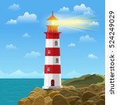 lighthouse on ocean or sea... | Shutterstock .eps vector #524249029