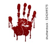 bloody handprint. horror dirty... | Shutterstock .eps vector #524249575
