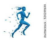 active running woman vector... | Shutterstock .eps vector #524249644