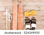 overhead view of retro ski... | Shutterstock . vector #524249935
