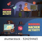 warning hacker activity 2 retro ... | Shutterstock .eps vector #524254465