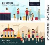 travelers departure from... | Shutterstock .eps vector #524255629