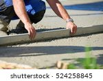 worker screeding cement floor... | Shutterstock . vector #524258845