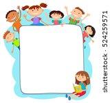 illustration of kids peeping... | Shutterstock .eps vector #524259571