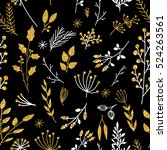 gold floral background. vector... | Shutterstock .eps vector #524263561