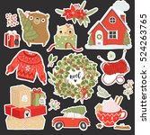 christmas elements sticker pins ... | Shutterstock .eps vector #524263765