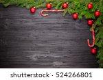 christmas fir tree on black... | Shutterstock . vector #524266801