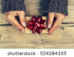 valentine's day. a woman holds... | Shutterstock . vector #524284105