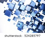 Abstract Digital Blue 3d Cubes...