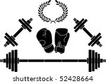weights and boxing gloves.... | Shutterstock .eps vector #52428664