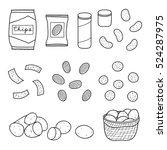 hand drawn outline chips... | Shutterstock .eps vector #524287975