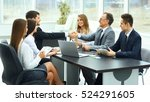 meeting business partners in a... | Shutterstock . vector #524291605