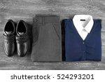 school uniform on wooden... | Shutterstock . vector #524293201