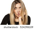 bored young woman make silly... | Shutterstock . vector #524298109