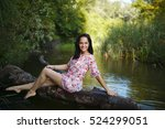 the girl in a dress in the... | Shutterstock . vector #524299051