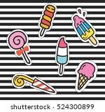 cute cartoon patch background | Shutterstock . vector #524300899