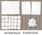 set creasy and torn sheets of... | Shutterstock .eps vector #524307634
