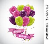color glossy happy birthday... | Shutterstock .eps vector #524309419