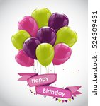 color glossy happy birthday... | Shutterstock .eps vector #524309431