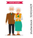 Retired Couple. Flat Vector...
