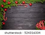 christmas fir tree on black...   Shutterstock . vector #524316334