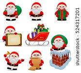 collection of christmas santa... | Shutterstock .eps vector #524317201