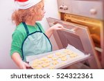 cute small boy wants to put to... | Shutterstock . vector #524322361