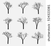 Set Of Silhouette Of Tree With...