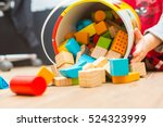 small boy playing with wooden... | Shutterstock . vector #524323999