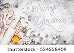 merry christmas inscription on... | Shutterstock . vector #524328409