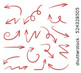 red hand drawn and scribble...   Shutterstock .eps vector #524328505