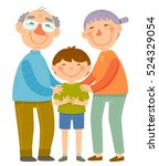 happy grandparents standing... | Shutterstock .eps vector #524329054
