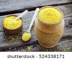 raw organic polenta corn meal... | Shutterstock . vector #524338171