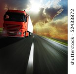 heavy truck on blurry asphalt... | Shutterstock . vector #52433872
