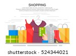 clothes shopping banner concept ... | Shutterstock .eps vector #524344021