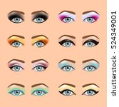 eyes makeup icons detailed... | Shutterstock .eps vector #524349001