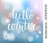 hello winter banner. brush... | Shutterstock .eps vector #524349145