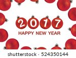 2017 happy new year and red... | Shutterstock . vector #524350144