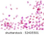 pink hearts drawn on a white... | Shutterstock . vector #52435501