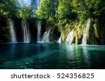 waterfall inforest   plitvice ... | Shutterstock . vector #524356825