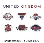 england emblem label badge red... | Shutterstock . vector #524361577