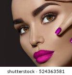 beauty brunette woman with... | Shutterstock . vector #524363581