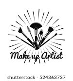 beauty salon badge. makeup... | Shutterstock .eps vector #524363737