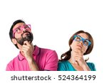 couple in colorful clothes... | Shutterstock . vector #524364199