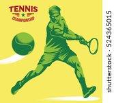 retro tennis player vector... | Shutterstock .eps vector #524365015