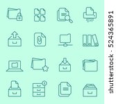 archive icon set  thin line  ... | Shutterstock .eps vector #524365891