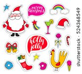set fashion patch christmas... | Shutterstock .eps vector #524368549