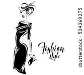 black and white retro fashion... | Shutterstock .eps vector #524369275