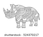 rhinoceros coloring book for... | Shutterstock .eps vector #524370217